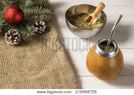 Yerba mate Christmas background. Yerba mate Christmas concept with copy space