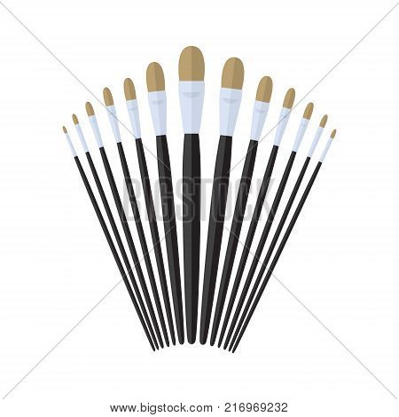 set of filbert paint brush stationary, collection of color painting accessory, artist tools, vector illustration
