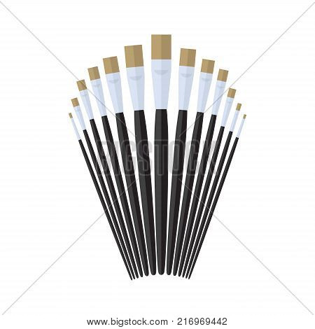 set of glaze paint brush stationary, collection of color painting accessory, artist tools, vector illustration