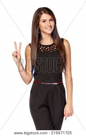 Hand counting two fingers. Smiling woman showing two fingers, V sign