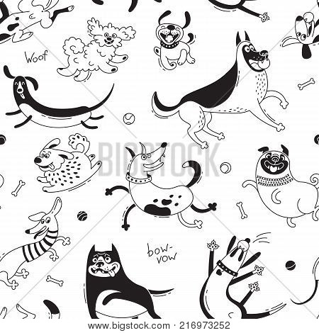 Playing dogs seamless pattern. Funny lap-dog, happy pug, mongrels and other breeds. Vector background for design.
