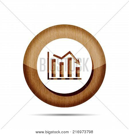 wooden flat icon of graph going down