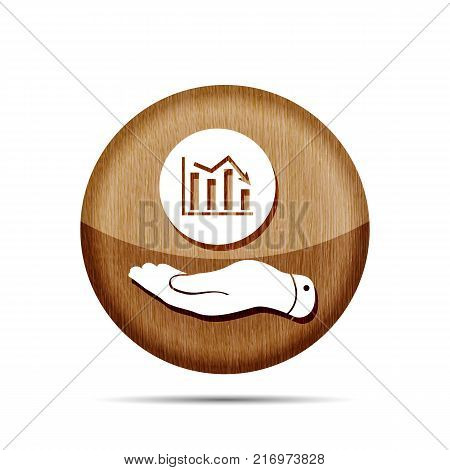 wooden flat hand showing the icon of graph going down - vector illustration