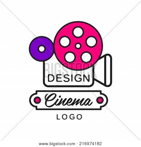 Creative modern cinema or movie logo template design. Cinematography concept with vintage retro camera and big reel. Outline with pink and purple elements. Flat line style vector icon illustration.