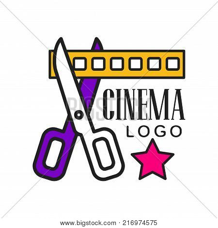 Colorful cinema or movie logo template creative design. Cinematography or film industry emblem concept with scissors cutting yellow filmstrip and text. Flat line style vector icon illustration.