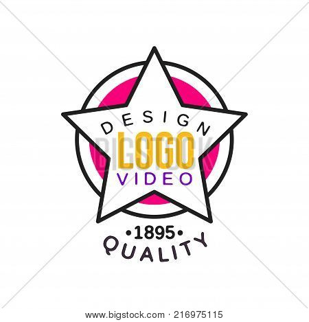 Abstract creative logo design template for cinema or video company. Cinematography and film industry emblem concept with white star frame with text on circles. Flat line style vector icon illustration