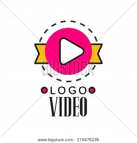 Cinema or video company logo template creative design with pink play button, yellow ribbon behind and dotted circle around. Cinematography industry concept. Flat line style vector icon illustration.