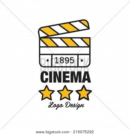 Black and yellow cinema or movie logo template creative design with stars, old clapperboard and text. Cinematography and film industry label concept. Flat line style vector icon illustration.
