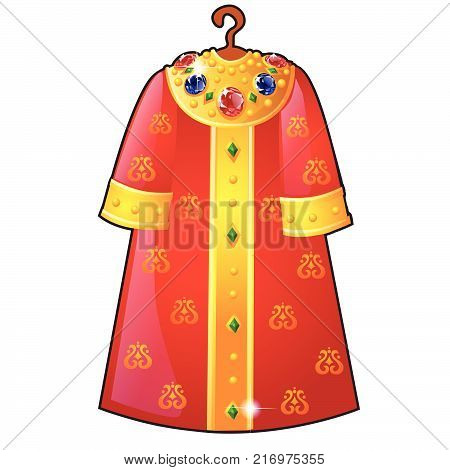 Royal cloak hanging on a hanger, decorated with gold patterns and precious stones, isolated on white background. Vector cartoon close-up illustration.