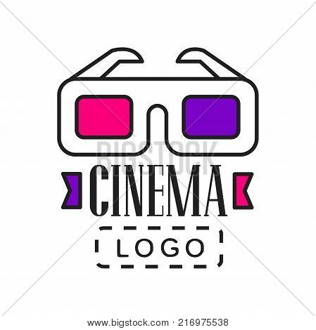 Creative colorful logo design template for video or movie company business. Cinematography and film industry emblem concept with cinema 3D glasses and text. Flat line style vector icon illustration.