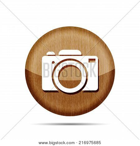 wooden digital camera icon button on a white background