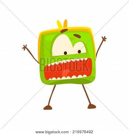 Funny shouting purse character, cute green humanized pouch cartoon vector illustration isolated on a white background