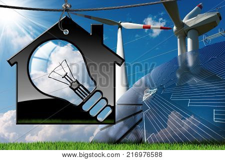 Model house with a light bulb (3D illustration) solar panel wind turbines and a power line on a blue sky with clouds sun rays and green grass (photo) - Renewable energies concept