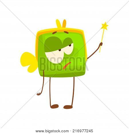 Cute purse character with wings and magic wand, funny green humanized pouch cartoon vector illustration isolated on a white background