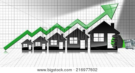 Growing real estate sales - 3D illustration of five house-shaped symbols a hand with work glove and a graph of growth with a green arrow