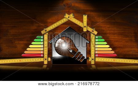 Energy Efficiency - 3D illustration of a model house with energy efficiency rating light bulb and wooden folding ruler. On a desk with reflections