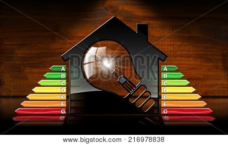 Energy Efficiency - 3D illustration of a symbol in the shape of house with energy efficiency rating and a light bulb. On a desk with reflections