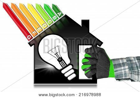 Energy Efficiency - Hand with work glove (photo) holding a symbol in the shape of house with energy efficiency rating and a light bulb (3D illustration). Isolated on white background
