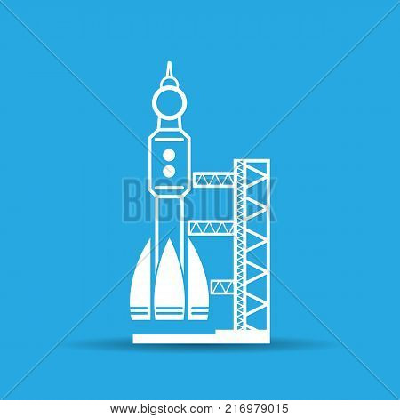 blue launch site with rocket, spaceport icon, vector illustration