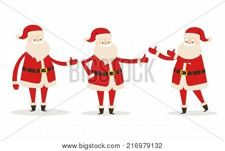 Set of isolated Santa Clauses showing the way. Statues of Father Frost pointing on right direction. Santa stretches one or two hands to demonstrate something. Vector illustration of decorative element
