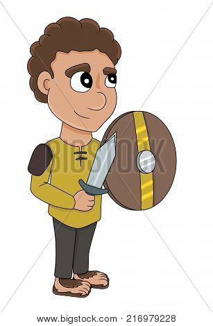 Illustration of a halfling rogue with a dagger and a shield isolated on a white background