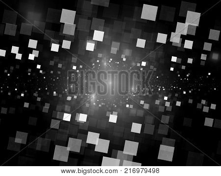 Glowing square tiles in space black and white texture big data computer generated abstract background 3D rendering