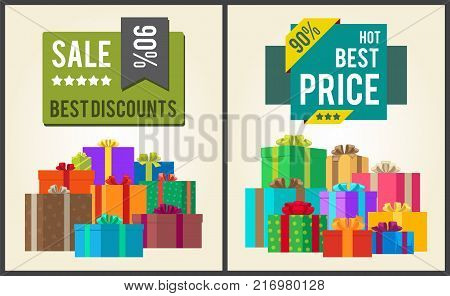 Sale best discounts super hot prices final total 90 offer now sticker labels on banners with present festive gift boxes vector illustration posters set