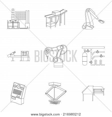 Factory equipment and machines and other  icon in outline style.New production technologies icons in set collection.