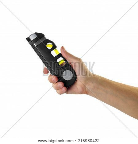 Objects tool hands action - Hand Spirit level worker hand isolated white background.