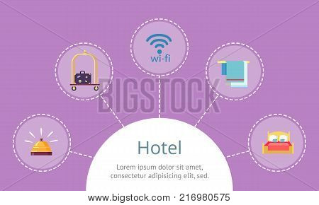 Hotel services fast access on website template. Gold bell, suitcase on trolley, wifi icon, towels on hanger and soft bed vector illustrations.