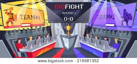 Cybersport big fight, image with two teams, their logos above, people watching process and prize for winners on vector illustration poster