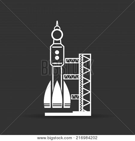white launch site with rocket, spaceport icon on a black background, vector illustration