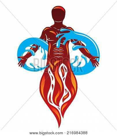 Vector graphic illustration of strong male fireman composed with eternity symbol made with water splash environment conservation metaphor.