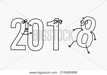 2018 flat line design concept for greeting card and banner. Funny cartoon interpretation for the meeting of the new year, love, vector illustration isolated on white background
