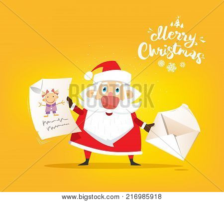 Santa Claus receive a letter of wishes. Vector, illustration, flat
