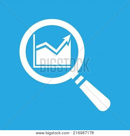 search graph icon flat on a blue background, search icon design, search icon web, vector magnifying glass