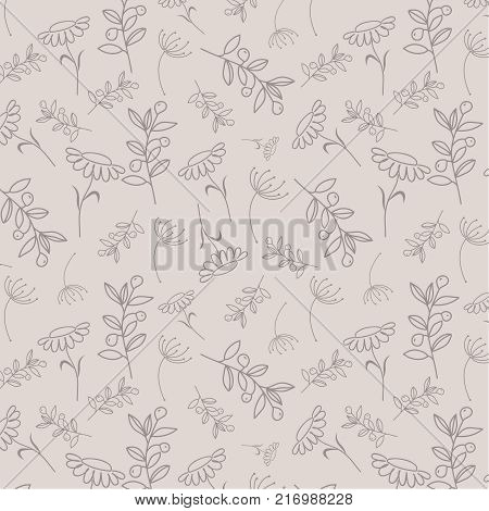 Hand drawn fancy herb and flower pattern. Vector floral seamless pattern with linear plants and herbs