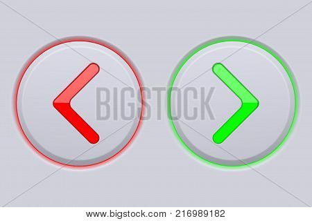 Back and forth, previous and next round buttons. Vector 3d illustration