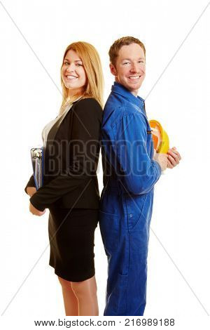 Business woman and construction worker as a team back to back