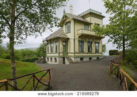 BERGEN, NORWAY - JUNE 05, 2012: Exterior of the Troldhaugen home of the famous Norwegian composer Edvard Grieg in Bergen, Norway.