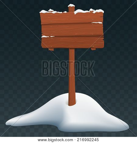 Blank Wooden Signboard in Snow isolated on transparent background. Signboard in snowdrift. Winter decoration. Vector eps 10.