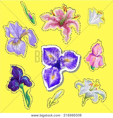 Embroidery floral patches with simplified roses and bee. Vector embroidered flowers elements for fashion design