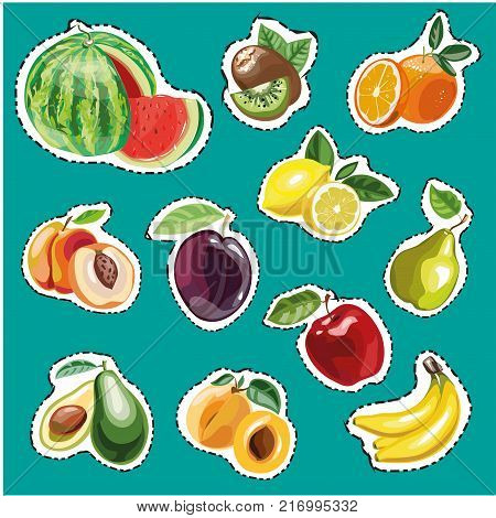 Embroidery fruits collection. Vector fashion stickers pineapple, bilberry, peaches, plums. Embroidery summer fresh fruits vector icon set