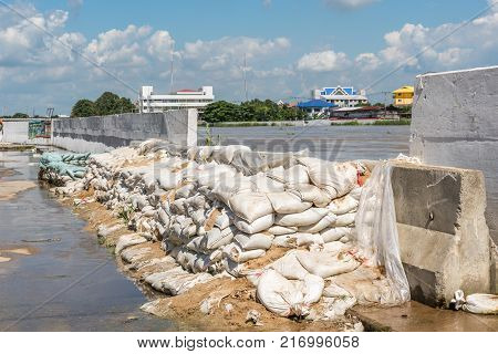 Dams From Sand Bags Prevent Flooding From River