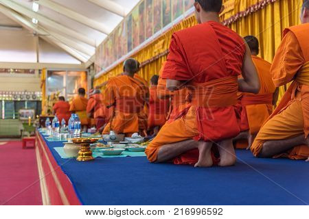 Thai Monk Pray For Religious Ceremony In Buddhist