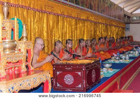 Thai Monk Pray For Religious Ceremony In Buddhist