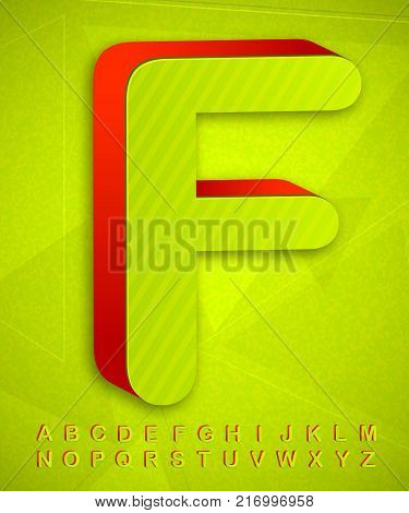 Green and red font 3d Alphabet. Three-dimensional letters.