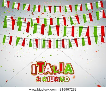 Colorful flags of Italy with confetti. Festive garlands of pennant. Bunting wreaths. Italian Republic Holiday. Vector banner for celebration party, conference