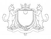 Cat pets heraldic shield coat of arms. Notice the collar instead of garter. poster