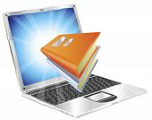 Book icon coming out of laptop screen concept for ebooks reader apps online database elearning. poster